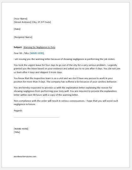 Warning Letter For Negligence In Duty Lettering Serious Problem
