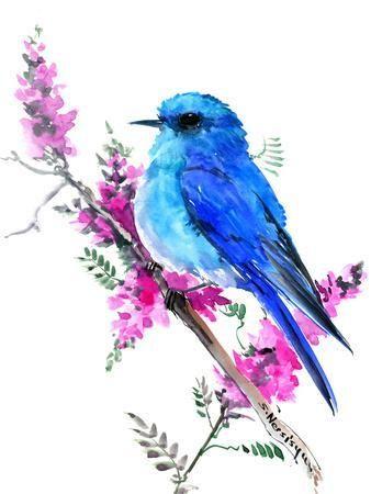 Hummingbird Art Print Suren Nersisyan Art Com In 2020 Blue Bird Art Bird Artwork Bird Art