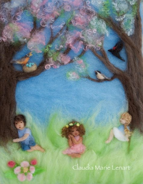 Spring Blossoms Wool Painting Illustration Giclee Print from Seasons of Joy, Signed by fiber artist and author Claudia Marie Lenart