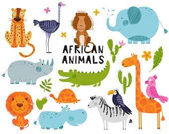Jungle Animals Clipart Digital Vector Safari Animals African Jungle Animals Clip Art Animal Clipart Lion Baby Shower Baby Animals