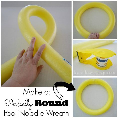 How to make a perfectly round pool noodle wreath base - tips at www.foxhollowcottage.com #dollarstore #wreath