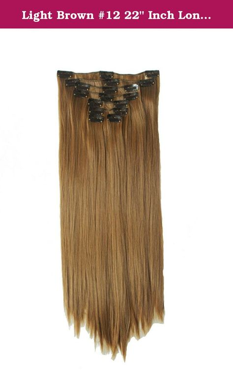 Light Brown 12 22 Inch Long Straight Synthetic Full Head Clip In
