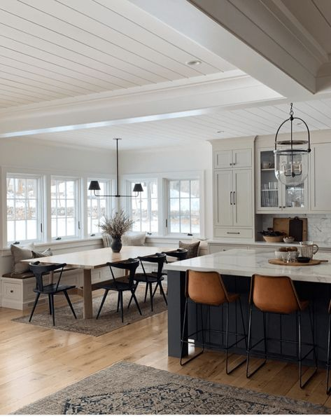 modern farmhouse design, modern farmhouse kitchen design with navy kitchen island and leather stools with open floor plan of modern farmhouse dining room decor with farmhouse table and black dining room chairs and built in banquette in dining area Home Interior Design, House Design, Decor, Interior Design, House Interior, House, Home, Interior, Home Decor