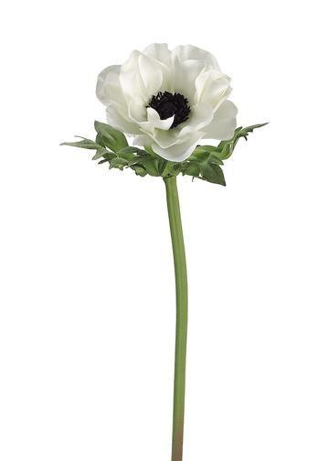 Anemone Silk Flower In Cream With Black Center 17 Tall Silk Flowers Wedding Flower Spray Anemone Flower