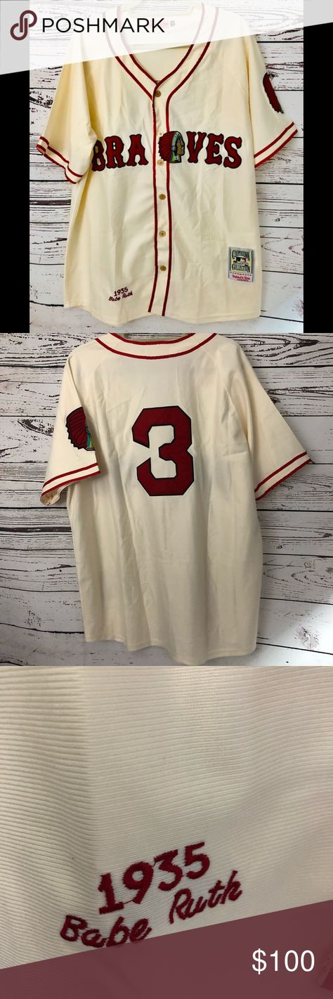 Authentic Throwback Jersey Braves Babe Ruth No. 3 Men s 1935 Boston Braves Babe  Ruth Mitchell   Ness White Authentic Throwback Jersey d3ab46a209b