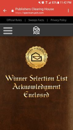 PCH Winners Selection List Acknowledgement Enclosed I RRojas Claim