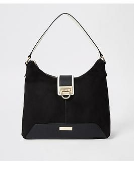 River Island Designer Suede Black Lock Front Cross Body Bag