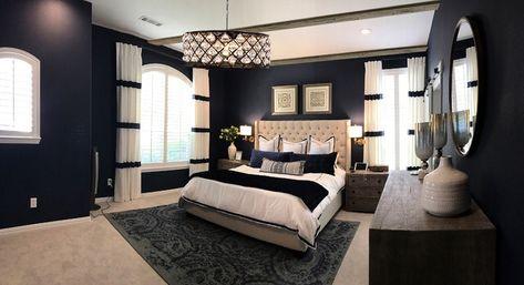 #dark #blue #bedroom #white #luxury #cozy #chandelier #amazing #homedecorideas #interior #masterbedroomideas Source: Houzz.com. Please support us by follow......