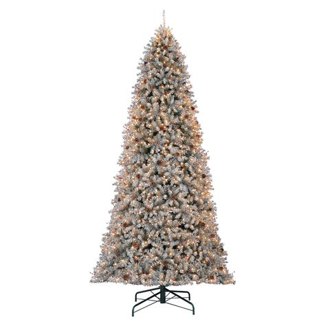 C38 12 Pre Lit Ruth Flocked Berry Tree With 1 350 Clear Lights At Home Classic Christmas Tree Lights Decor
