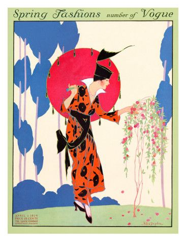 Vogue Cover - April 1914    Helen Dryden created this vintage illustration of a fashionable lady in an orange and black wrap dress with a high collar and a fantastic hat inspecting a small blossoming tree in her garden. Dryden's works were Art Deco before the style was widely recognized. She contributed many covers and fashion illustrations to Vogue during the 1910s and '20s, including this one, which appeared on the magazine's April 1, 1914, cover.