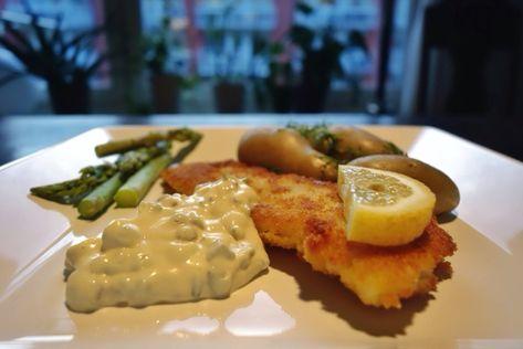 panerad fisk med remouladsås