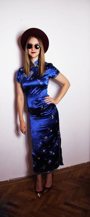 top yuwa cheongsam china dress blitzblau 34 36 kleid asia