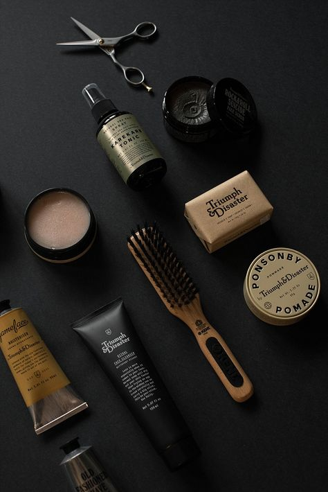 Triumph and Disaster Product Photography Dark and Moody James Dant Mens Beard Grooming, Male Grooming, Men's Grooming, Beauty Photography, Flat Lay Photography, Product Photography, Peeling, Beard Care, Design Set