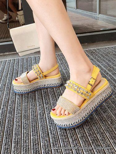 Plateau Strass Bequeme Sommer Sandalen für Damen in 2020