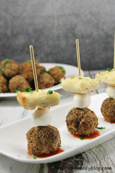Deconstructed Meatball Sub Bites A fun appetizer or snack, or even dinner, if you are like me and prefer small bites (several small bites) for a meal.  All the components of a great meatball sub taken apart and put back together in a pretty skewer.