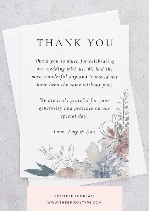 Diy Thank You Template Templett Thank You Watercolor Wedding