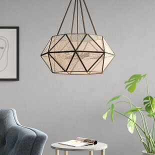 Corbin 3 Light Unique Statement Tiered Chandelier With Wood Accents Joss Main Geometric Chandelier Statement Chandeliers Joss And Main