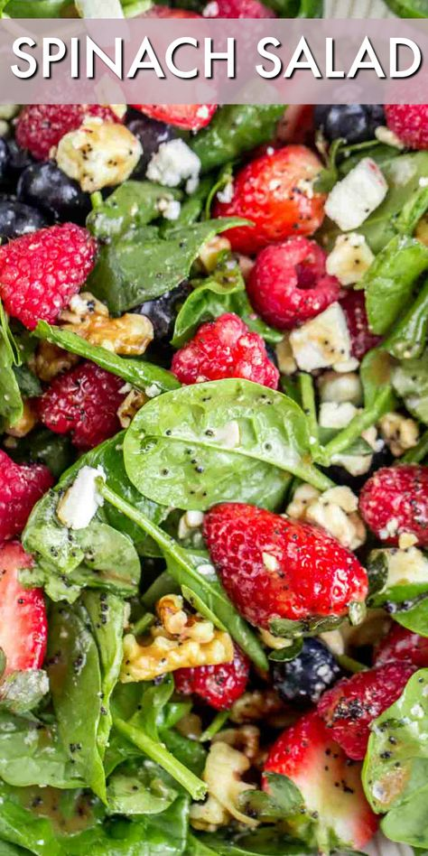 A hearty spinach salad loaded with berries, walnuts, Feta cheese and tossed in a homemade poppyseed dressing. A simple and healthy salad recipe. Side Salad Recipes, Spinach Salad Recipes, Spinach Strawberry Salad, Salad Recipes For Dinner, Summer Salad Recipes, Healthy Salad Recipes, Vegetarian Recipes, Pear Recipes, Spinach Salad Dressings