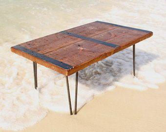 Industrial coffee table vintage metal strips reclaimed wood table Reclaimed wood coffee table urban coffee table Industrial Furniture