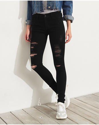 Hollister Black Ripped Jeans Black Skinny Jeans Super Skinny Jeans