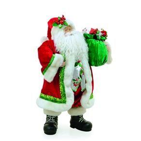 Papai Noel De Resina Com Roupa Verde E Vermelha Colete Florido