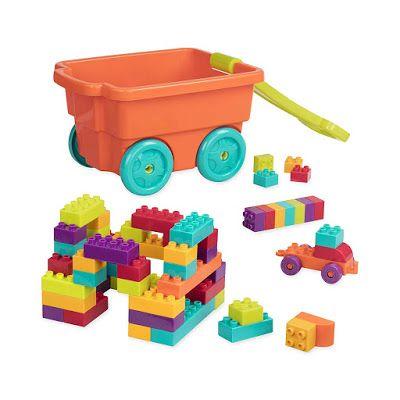 Battat Locbloc Wagon 54 Piece Toddler Building Blocks Set 7 59