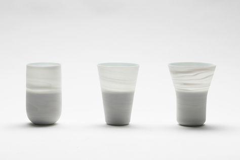 """Inhwa Lee """"Shadowed White - Oil lamps"""" Porcelain, Pigment, Marbling, Wheel throwing, 1280℃ Oxidation Firing, Polishing"""