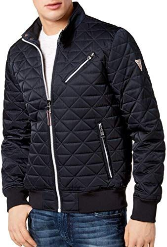 GUESS Mens Faux Leather Quilted Bomber