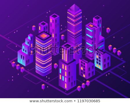 Isometric Neon Town Futuristic Illuminated City Future Megapolis Highway Illumination Electrical Construction And Ni Isometric Map Isometric Isometric Design