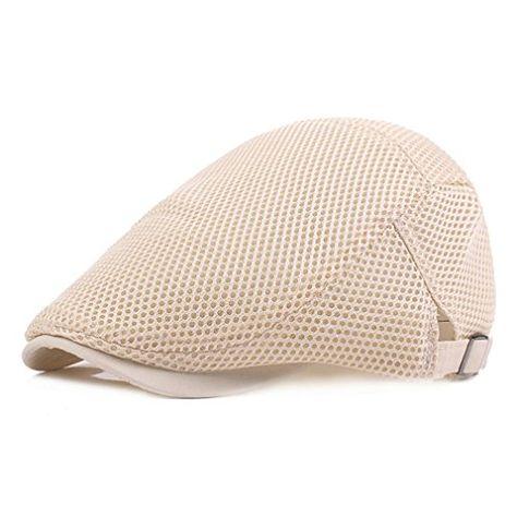 Men Mesh Beret Newsboy Hat Peaked Cap Net Breathable Flat Caps Summer Beach Hot