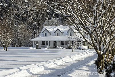 American Dream farm house | Snowy Farm House Stock Image - Image: 7877021