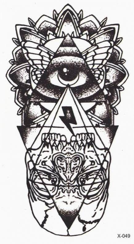 Tato Hitam Putih : hitam, putih, Tattoo, Geometric, Super, Ideas, Augen, Tattoos,, Komplett,, Muster, Tattoos