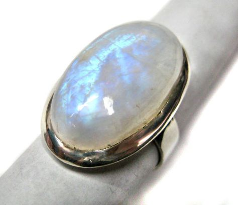 Blue Fire Rainbow Moonstone studded 925 Sterling by finegemstone