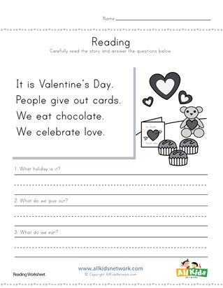 Valentine S Day Reading Comprehension Worksheet Reading Comprehension Worksheets Comprehension Worksheets Reading Comprehension For Kids