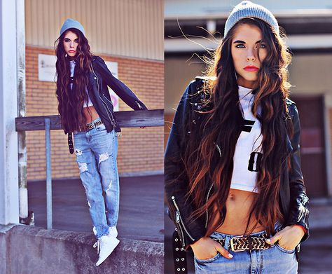 Motel Rocks Crop Top, Adidas, Gina Tricot Boyfriend Jeans
