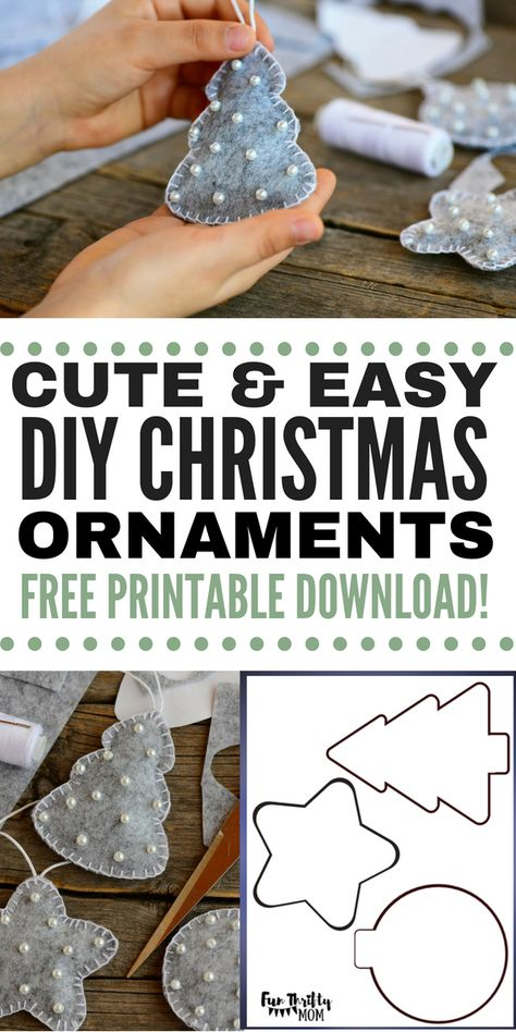 DIY Easy Felt Christmas Ornaments, DIY and Crafts, DIY felt Christmas ornaments. These easy to make yourself ornaments are perfect as inexpensive christmas gifts, or as cherished keep sakes for your fa. Inexpensive Christmas Gifts, Homemade Christmas, Simple Christmas, Christmas Time, Christmas Makes, Retro Christmas, Vintage Holiday, Christmas Carol, Felt Christmas Decorations
