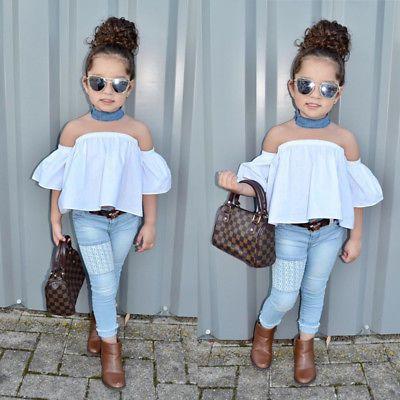 0950a67c4 Newborn Kids Baby Girls Off Shoulder Top Denim Pants Jeans Outfits ...