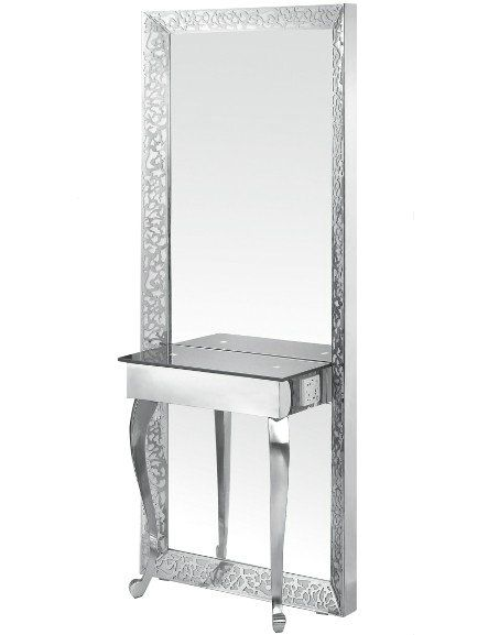 Wholesale Double Stainless Steel Barber Mirrors Styling Stations Salon Mirrors Beauty Salon Equipment Styling Stations
