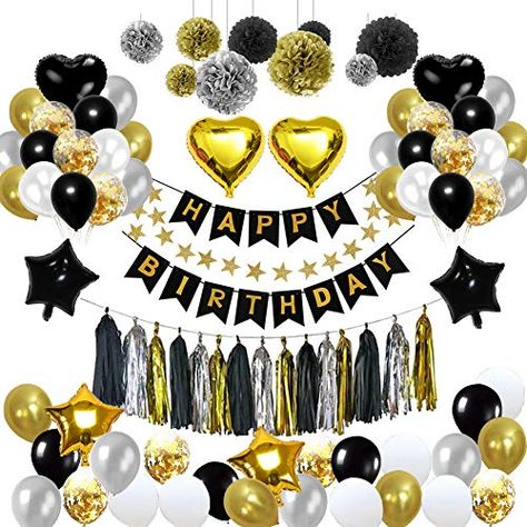 HAPPY BIRTHDAY BANNER BLACK AND GOLD HEART PARTY BUNTING