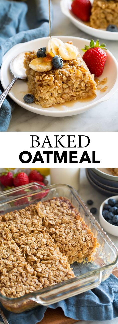 Baked Oatmeal - this delicious breakfast is made with nutritious oats, sweetened. - Baked Oatmeal – this delicious breakfast is made with nutritious oats, sweetened with maple syrup - Amish Baked Oatmeal, Baked Oatmeal Recipes, Cooking Oatmeal, Cinnamon Oatmeal, Healthy Baked Oatmeal, Baked Oatmeal Casserole, Recipes With Oatmeal Breakfast, Quick Breakfast Ideas, Best Oatmeal Recipe
