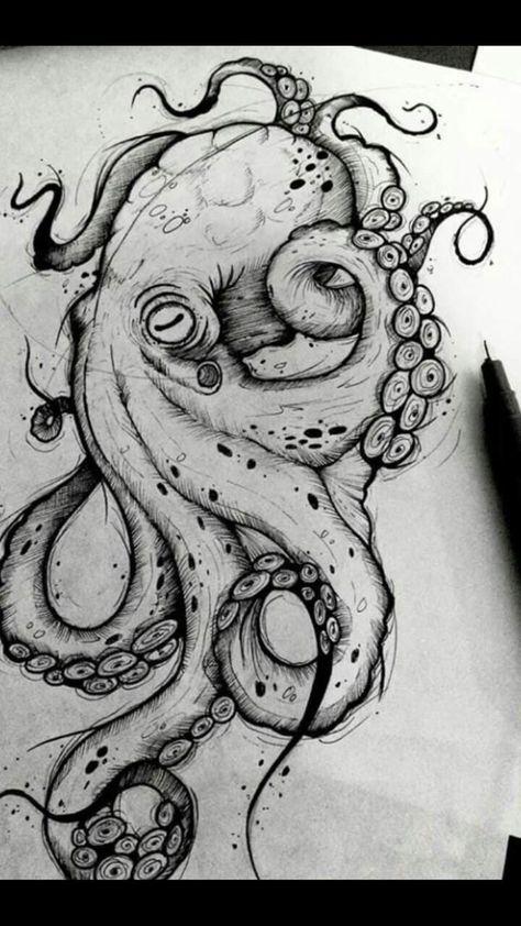 Octopus Design Octopus Tattoo Octopus black and white design sea background ..., #Background #Black #Design #Octopus #octopustattooblackandwhite #Sea #Tattoo #White