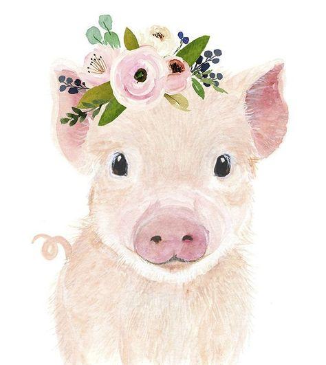 Farm nursery decor Nursery print farm animal print cow painting Nursery Animal print Farm baby shower decor Nursery wall art flower crown,  #animal #Art #baby #Cow #Crown #Decor #Farm #Flower #InkPaintinganimal #Nursery #painting #Print #Shower #Wall