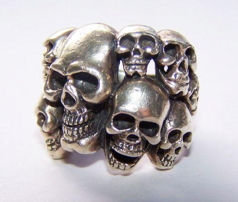 Silver Skulls - Sterling Silver Multi Skull Ring....................d