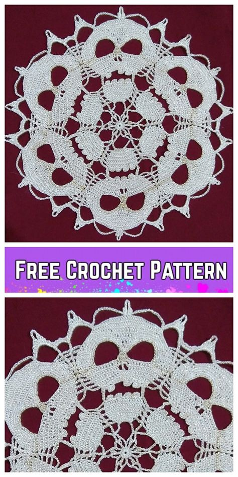 Tinker pompoms - make curly-soft pompoms yourself - house decorationFast pompomsHalloween Skull Doilies free crochet never too late to crochet Skull Doily for your Halloween table set! shared some Halloween crochet projects, and Filet Crochet, Beau Crochet, Crochet Fall, Diy Crochet, Crochet Coaster, Free Crochet Doily Patterns, Crochet Motifs, Thread Crochet, Crochet Doilies