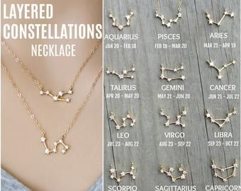 14k gold filled zodiac necklace constellation necklace cz zodiac jewelry astrology jewelry birth sign necklace cubic zirocnia necklace gift