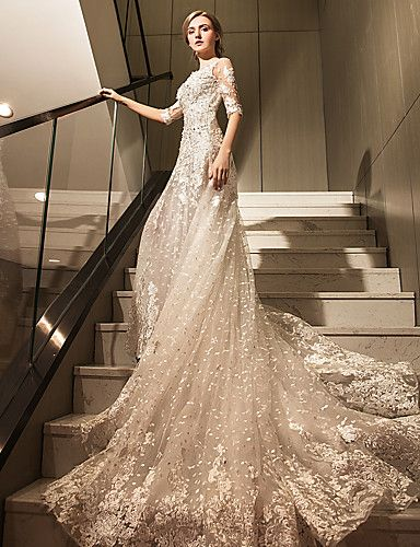 A Line Scoop Neck Cathedral Train Tulle Wedding Dress With Crystal