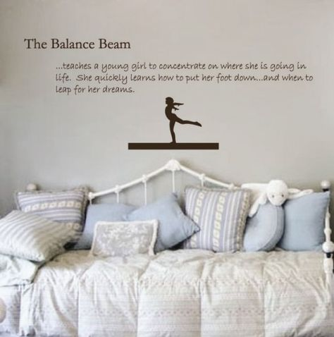 Gymnastics Decal Balance Beam Sticker - Girls Wall Quote. $39.00, via Etsy.