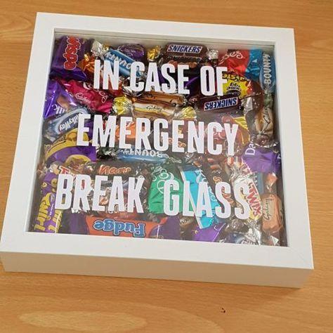 Candy Shadow Box - In Case of Emergency Break Glass. 31 DIY Christmas Gift Ideas  #DIY #DIYChristmasGifts #ChristmasGiftIdeas #giftguide #homemade #Christmas #candy #shadowboxideas #shadowbox #candybar