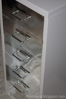 Omg awesome idea for spray-painting the drawers a mirrored silver on the Ikea HELMER Shelf unit series. Love it. The unit is only $49.99 and for an extra $5-8 I can completely customize it!!