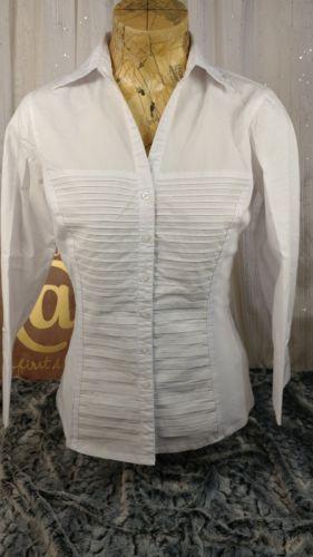 794382f08 Zac-and-Rachel-Womens-Medium-M-White-Top-Blouse-Tuxedo-Pleated-Front ...